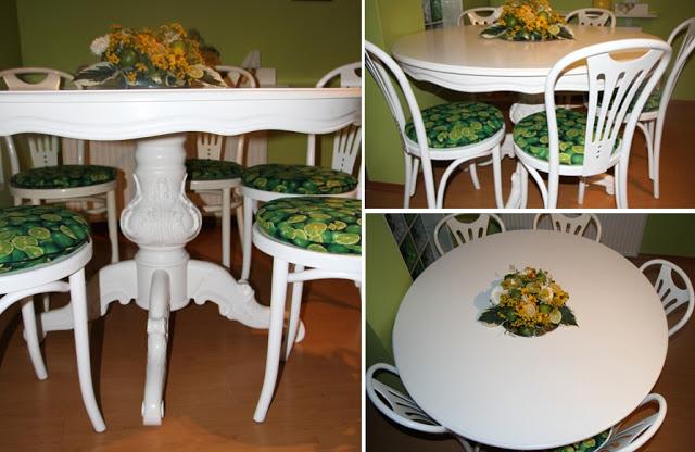 stół okrągły po renowacji